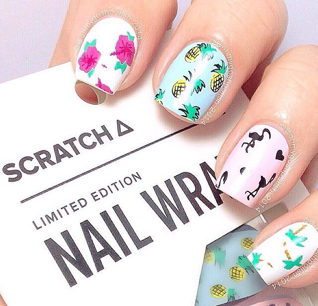 Summer pineapple flamingo nails