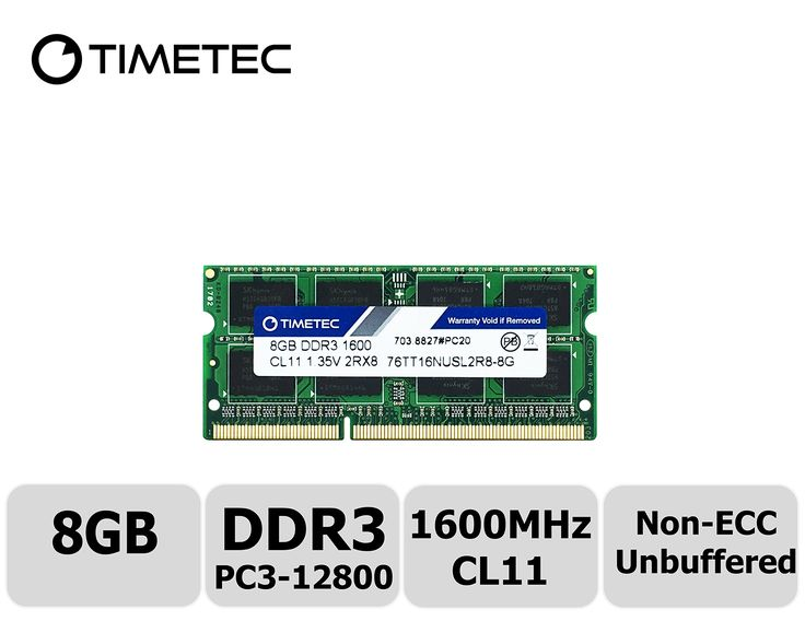 Timetec Hynix IC 8GB DDR3 1600MHz PC3-12800 Non ECC Unbuffered 1.35V CL11 2Rx8 Dual Rank 204 Pin SODIMM Laptop Notebook Computer Memory Ram Module Upgrade(8GB)