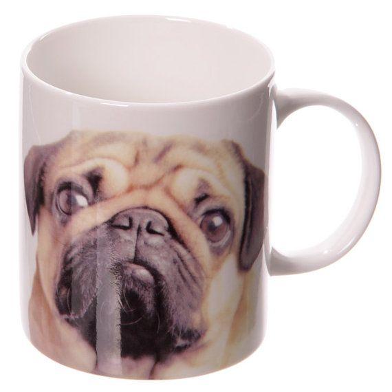 Coffee Cup New Bone China Mug Cute Love Pugs by getgiftideas