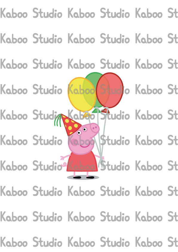 Printable Peppa Pig with balloons inspired party by KabooStudio