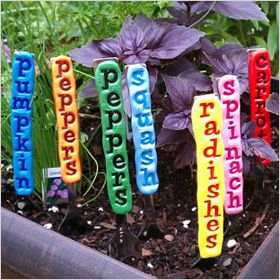 Bright vegetable and herb garden stakes. Add some colour to the vegie garden!