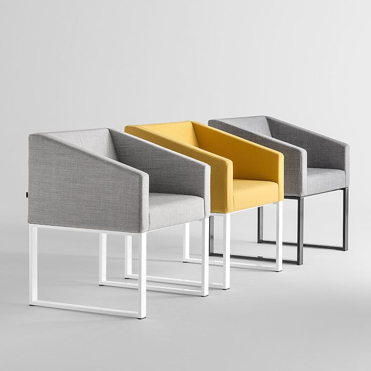 Cubik 2.1 in Gray & Yellow | Sandler Seating. Upholstered armchair on a steel sled base.