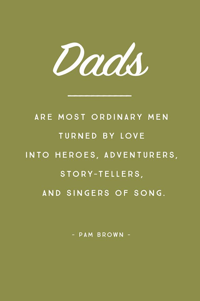 Dads are the most ordinary men turned by love into heroes, adventure…