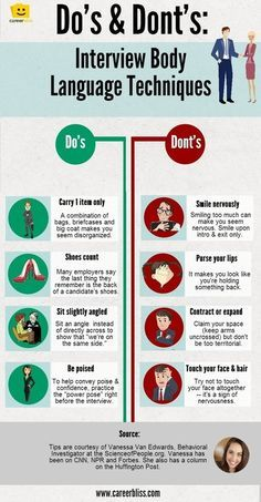 Body Language Tips for Job Interviews -- INFOGRAPHIC   CareerBliss