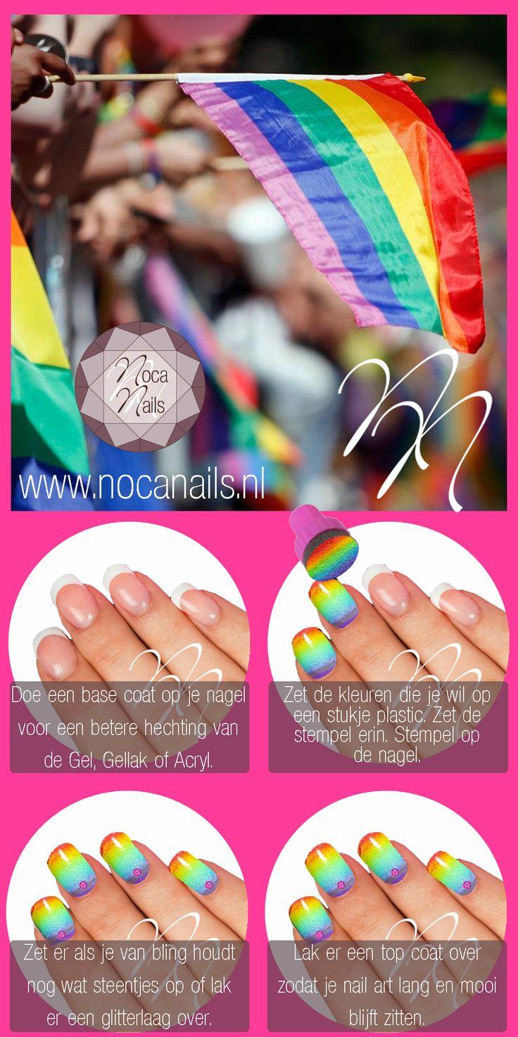 Gay Pride here we come! Van deze geweldige regenboog nagels wordt iedereen vrolijk. Snel en makkelijk. Veel plezier allemaal. www.nocanails.nl