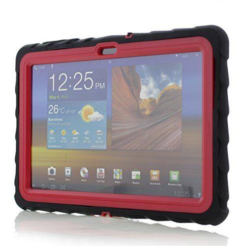 Samsung Galaxy Tab2 10.1 - Drop Tech - Ruggedized Case - Black - Red