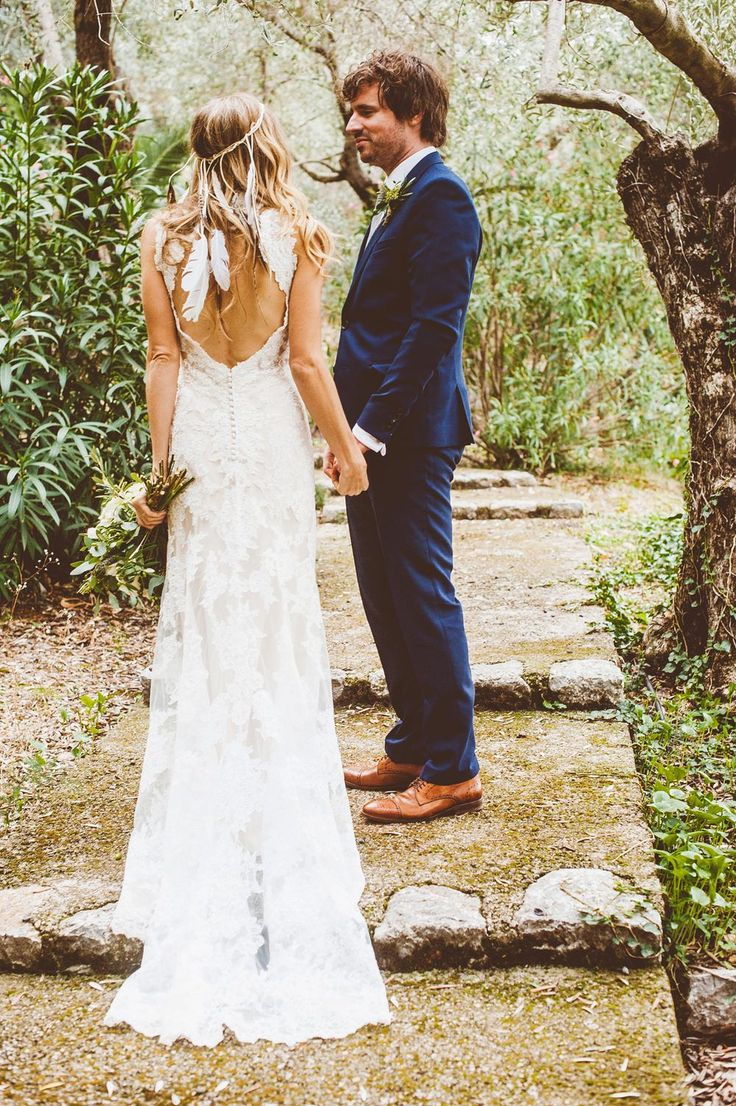 feather wedding dresses wedding dress with feathers Backless Lace Wedding Dress Feather Headpiece Outdoor Dei Mallorca Destination Wedding Graves