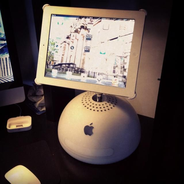 Old iMac G4 base transformed into an iPad stand - This was put together by Reddit user cwtfozzy who managed to convert his old, and presumably no longer functioning, iMac G4 into a stand for his iPad. | #DIY |