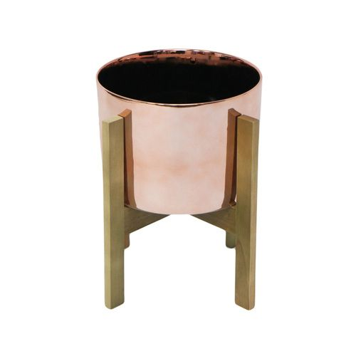 Large Planter With Wood Frame - Copper