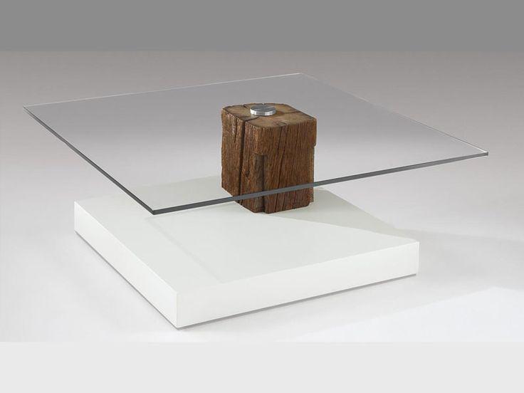 Venjakob Couchtisch 4400 Unterbauausfhrung Altholz Unikat Tisch Mit Kristallglasplatte Quadratisch Rollbar In Verschiedenen Ausfhrungen Bei ALCO