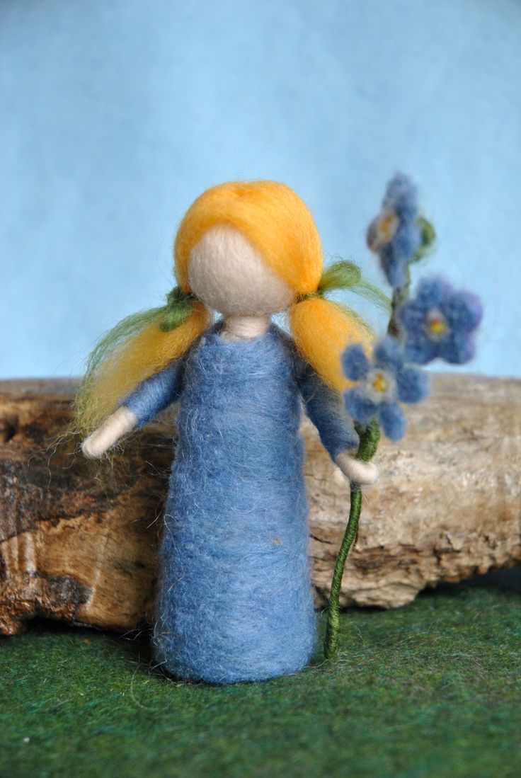 Waldorf inspired needle felted doll: Forget-me-not flower child. $28.00, via Etsy.