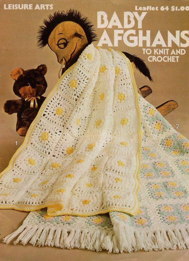 Leisure Arts 64 Baby Afghans Knit Crochet Patterns Ripple Granny Square 1976 #LeisureArts #KnittingCrochetPatterns