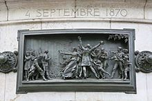 Proclamation de la République du 4 septembre 1870 (haut-relief en bronze de Léopold Morice, Monument à la République, Place de la République, Paris, 1883).
