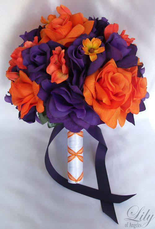17pieces Wedding Bridal Bouquet Flowers Orange Purple Bride ...