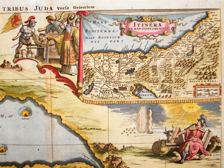 Juda Tribes 1681 Antique Map Fine Hand Colored Dapper Jansson