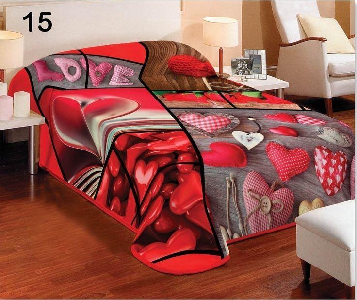 Romantické červené denné prehozy na postele s motívom sŕdc