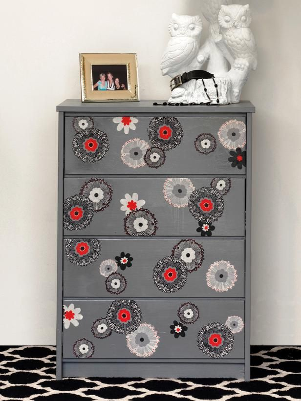Updated an old dresser! I used paint and some fabric where I cut out the bold flowers and decoupaged them on. Check out the step by step on DIY NETWORK.  http://www.diynetwork.com/decorating/how-to-update-furniture-with-fabric/pictures/index.html  Thanks for following! Joanne Palmisano, Salvage Secrets