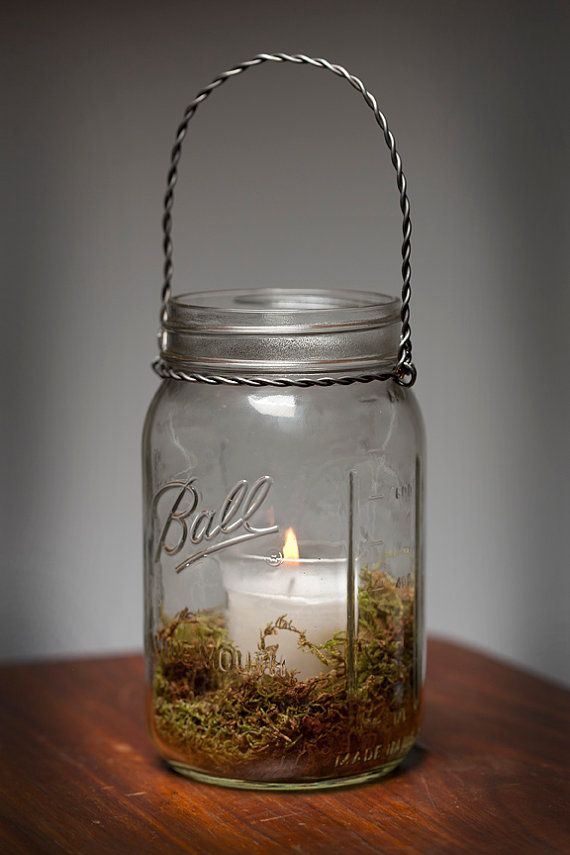 Moss hanging light mason jar lamp candle lantern wedding