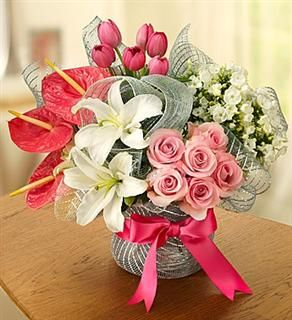"""Beautiful """"Love is Blooming"""" bouquet. Call us now and order for Valentine's Day 