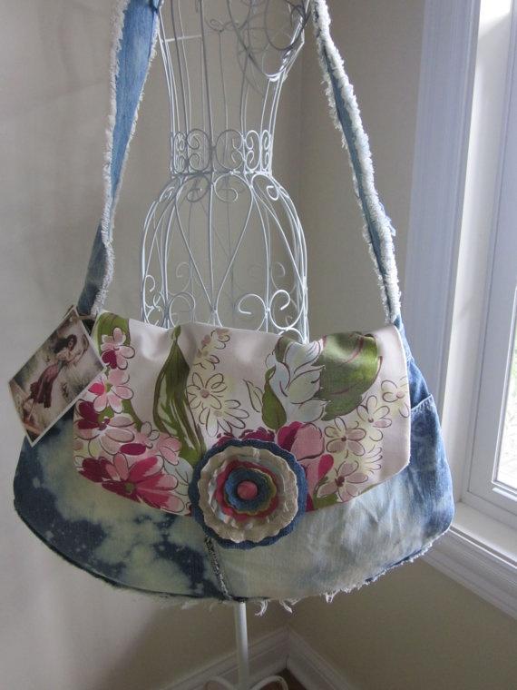 Jean Denim Ragged Gypsy Bag by PiecesPassed on Etsy, $40.00