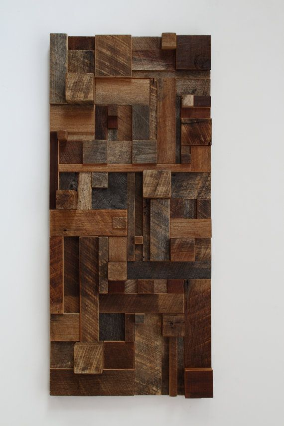 Reclaimed wood wall art 38x17x35 made of by CarpenterCraig on Etsy,