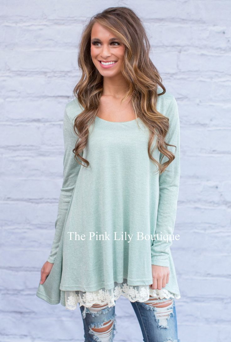 Lovely Lace Sage Tunic - The Pink Lily Boutique