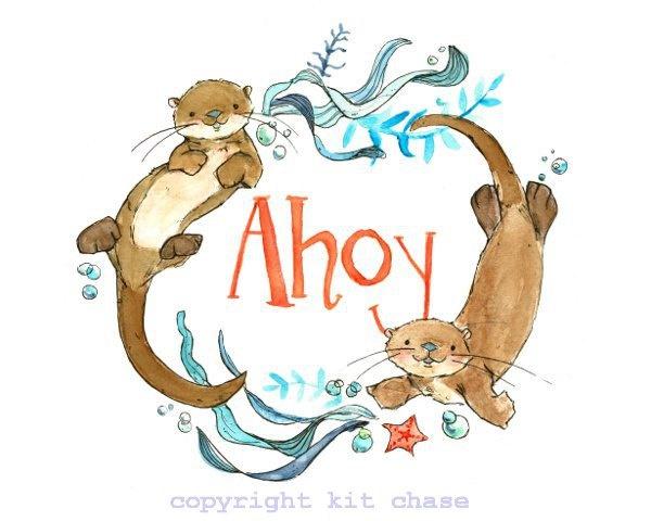 Ahoy -- 8x10 Archival Print -- Children's Art. $20.00, via Etsy.