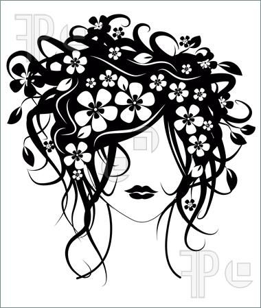 painting girl with flowers for hair | ... of Beautiful girl with flowers in hair vector illustration