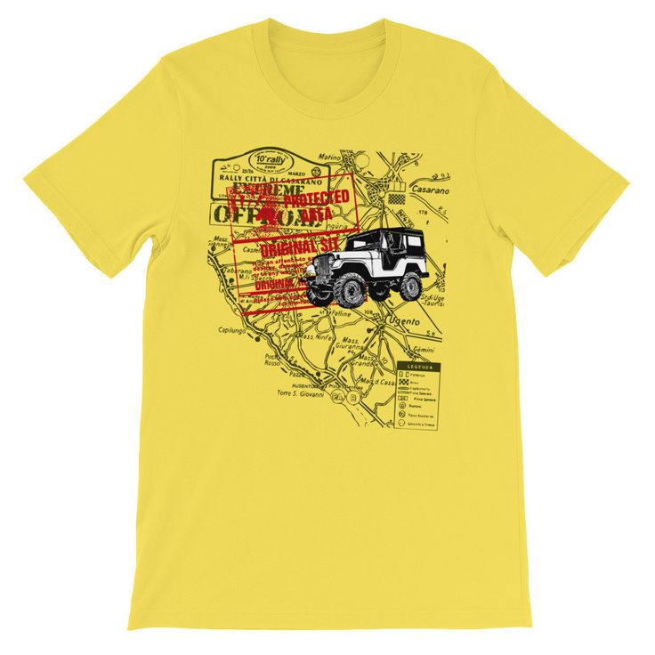 Off Road Jeep Rally Italy Map Vintage Graphic Unisex Mens or Short Sleeve T-shirt