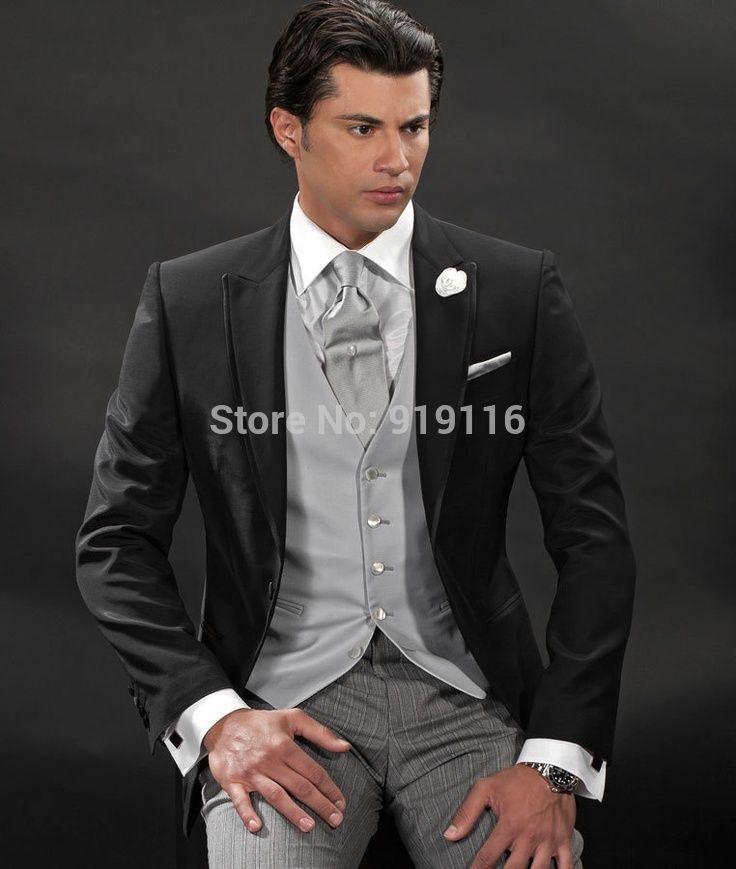 2015 Новая Мода Жених Черный/Пром костюмы для мужчин/Жениха свадьба смокингах 4 peices установить включают (пиджак + галстук + Брюки + жилет) CM-7258