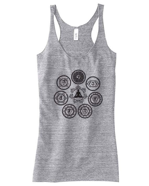 Seven CHAKRAS Racerback Tank - ENERGY- HINDU- - Exercise Clothing - Gift for Mom or Her