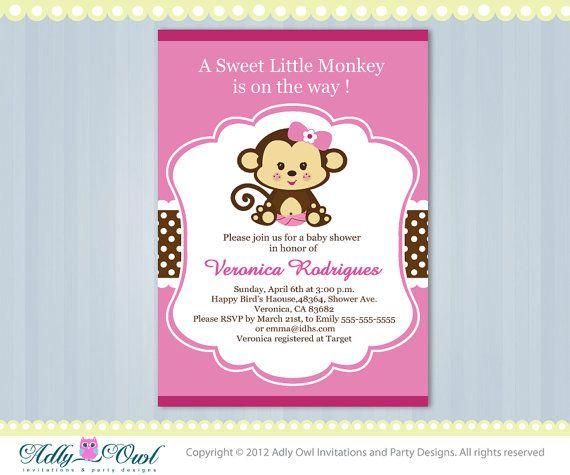 Girl Monkey Jungle Monkeys Baby Shower Printable Diy Party