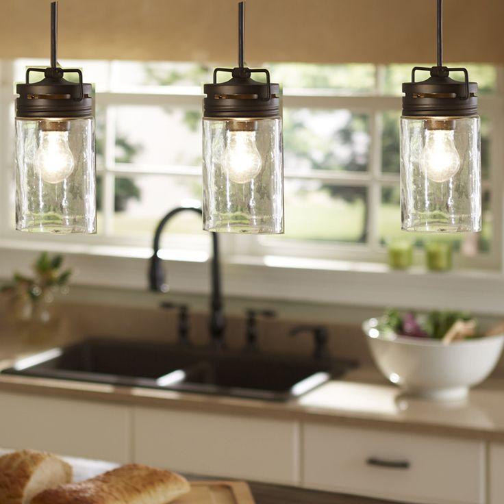 Shop Allen Roth Vallymede 3 7 In W Aged Bronze Mini Pendant Light With Clear Farmhouse Kitchen Lightingkitchen Island