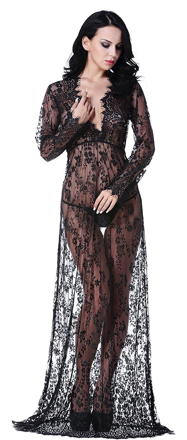 8596ea1b8 QinMi Lover Women s Sexy See-Through Lace Babydoll Nightwear Long Gown  Lingerie Dress