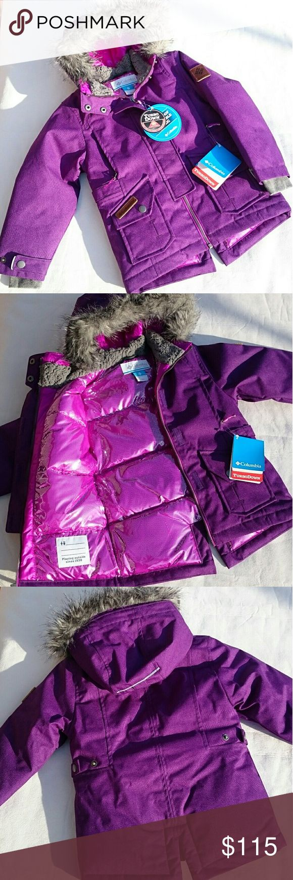 *NEW* Columbia Kid's Purple Turbo Down Ski Jacket BRAND NEW! Kid's Purple Columbia Ski/Snowboard Jacket! NWT! Zip & velcro closure. 2 zippered chest pockets, one for an ipod w hole for headphones. 2 dual waist pockets...open at top & at side...snap closure. Adjusts at waist & sleeves. Beautiful lining! Waterproof! Warm! Machine washable! Girl's size XXS which the sizing chart says is a 4/5.  *REASONABLE* offers considered...10% bundle discount! Columbia Jackets & Coats