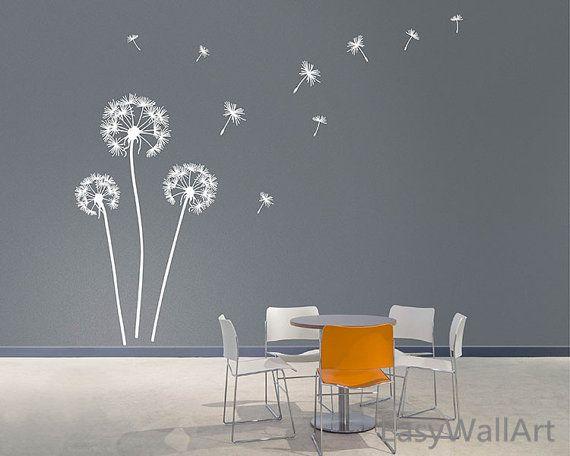 dandelion wall decal, dandelion decal, dandelion wall art, vinyl