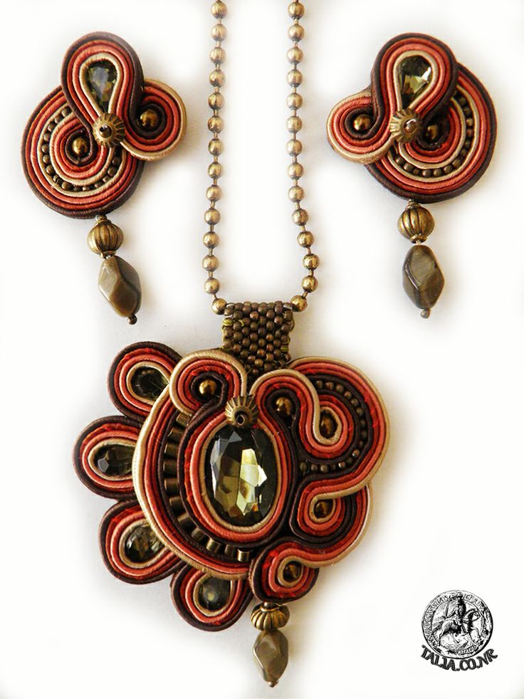 Soutache pendant with earrings