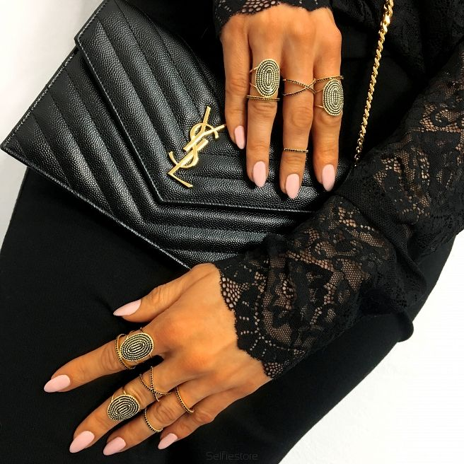 "Ring ""X-mini Black"" Gold - Selfie Jewellery - Shop online"