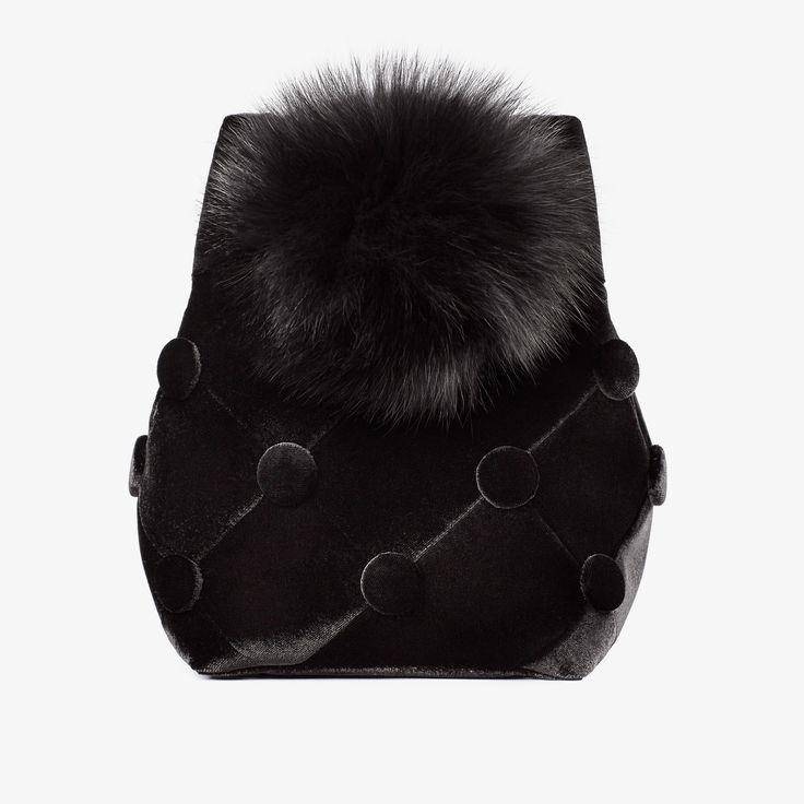 Joïlle Velvet Bucket Bag with Black Pom-Pom | Laimushka