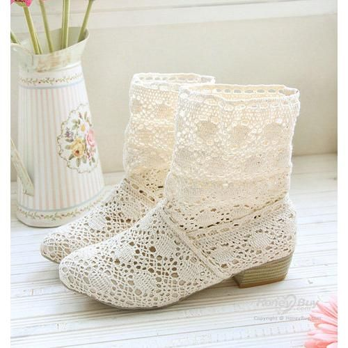 white lace ankle boots | ME 2.0 – All White Party | Pinterest