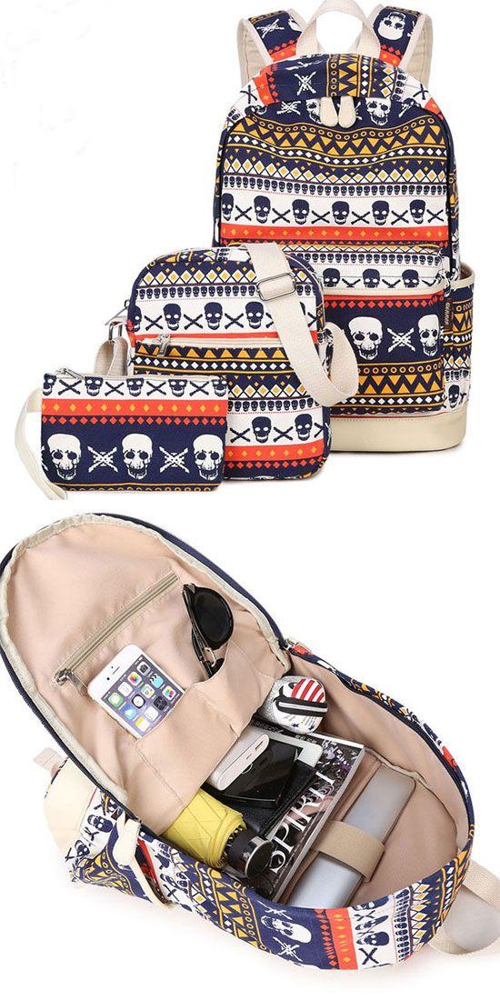 Punk School Skull Printing Rucksack Leisure Totem Travel Canvas Backpack for big sale! #skull #school #rucksack #backpack #leisure #college #punk #travel