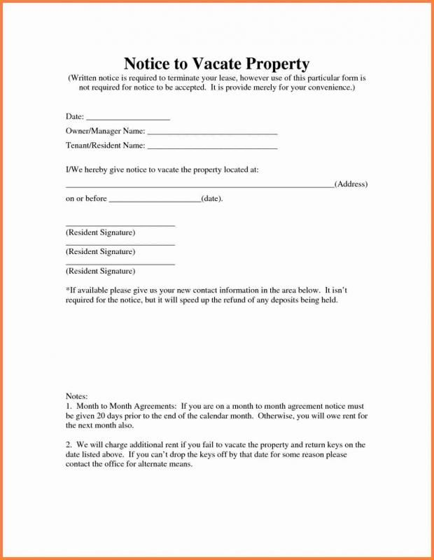 Landlord Notice To Vacate Being A Landlord Templates Personal