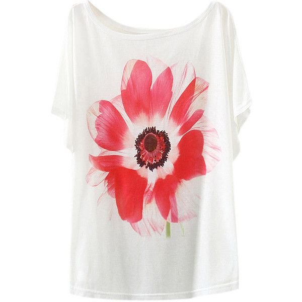 White Womens Flower Printed Batwing Sleeves T Shirt (36 RON) ❤ liked on Polyvore featuring tops, t-shirts, white tee, bat sleeve tops, white t shirt, white top and flower t shirt