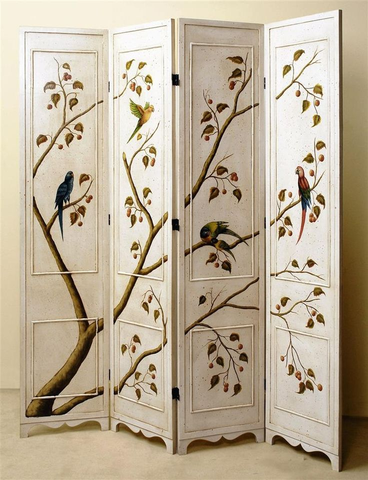 4 Panel Folding Screen in Antique White w Hand-Painted Birds & Tree