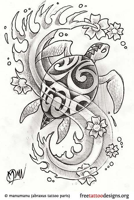 Good Turtle Tattoos   Polynesian And Hawaiian Tribal Turtle Designs