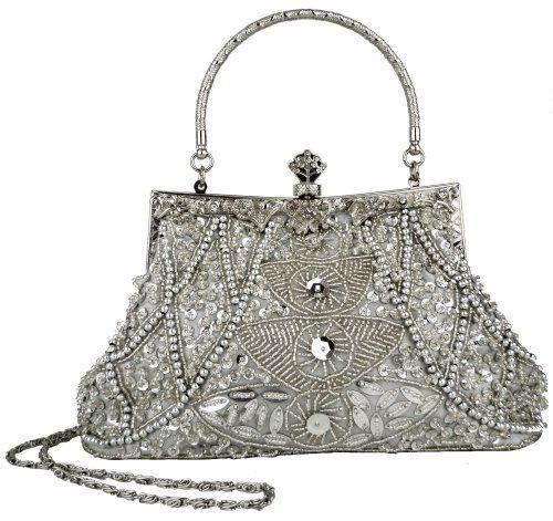 Exquisite Silver Seed Bead Sequins Clutch Purse Evening Handbag w/ Hidden Handle