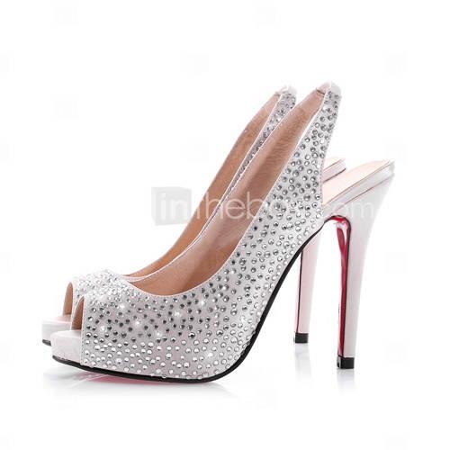 raso tacco alto a stiletto chanel pompe / matrimonio con strass / party scarpe