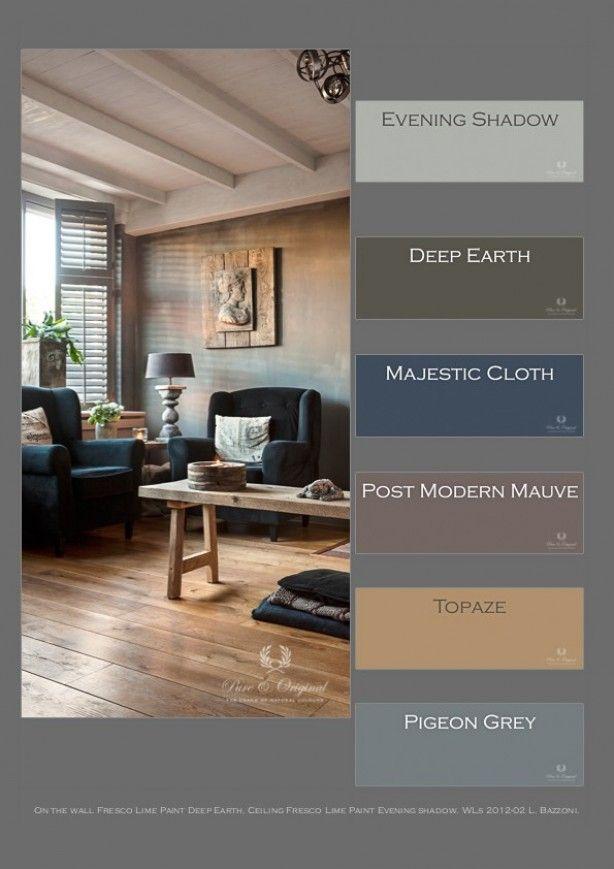 toepassing van kalkverf geeft een heerlijke warme intieme sfeer. hier toegepast de kleuren Deep Earth op de muur en Evening Shadow op het plafond.