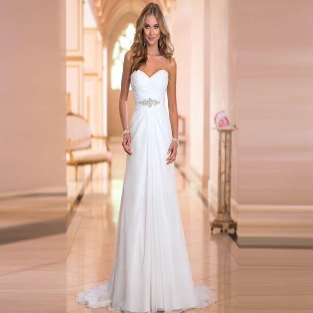 2016 Hot Selling A Line chiffon Wedding Dresses Beading Vestido de Noiva Long cheap crystal Robe De Mariage With Pleats