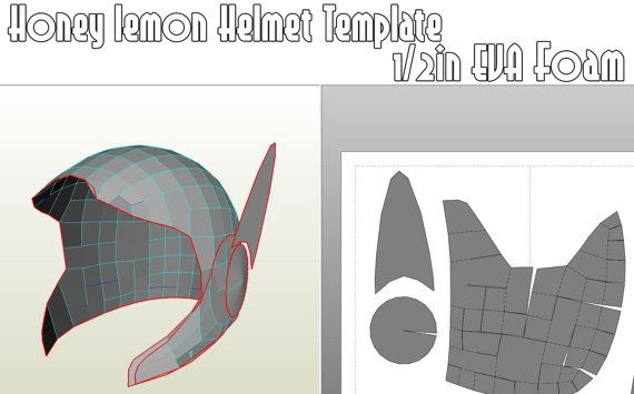 honey lemon helmet template for eva foam honey helmets and honey lemon. Black Bedroom Furniture Sets. Home Design Ideas